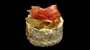 Macédoine de jambon ibérique, champignons et poireaux