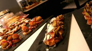 "Large selection of varied ""pintxos"" (appetizers) at the bar"