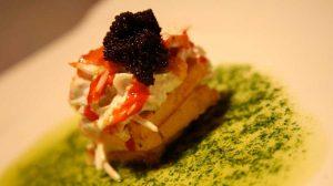 Cabracho (fish) pie with salad and lumpfish roe